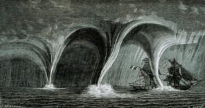 Dessin d'époque représentant le phénomène connu sous le nom de trombe et s'apparentant a une tornade marine