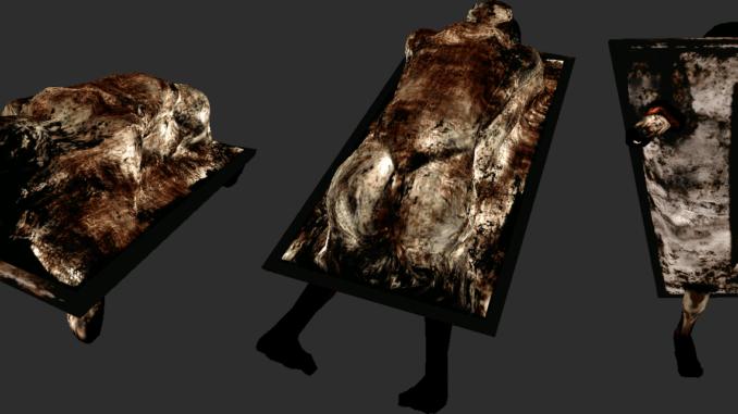 Le lit fait de chaire de Silent Hill 2.