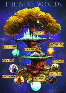 Représentation des neuf royaumes de la mythologie nordique, dont Asgard.
