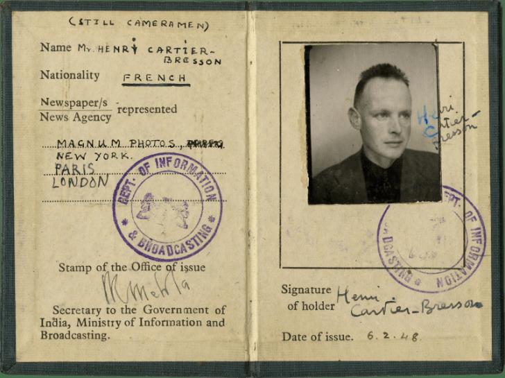 Carte de presse d'Henri Cartier-Bresson, 1948 - Cultea