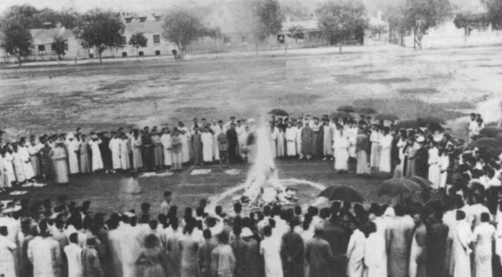 Des marchandises japonaises brûlées à l'université Tsingua, 1919 - Cultea