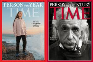 Greta Thunberg, personnalité de l'année en 2019, et Albert Einstein, personnalité du siècle (rien que ça !) - Cultea