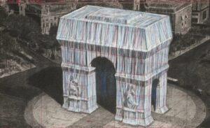 Dessin de l'Arc de triomphe empaqueté réalisé par Christo en vue du projet