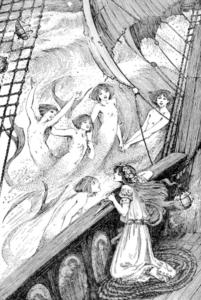 Illustration des sœurs de la petite sirène lui donnant le poignard